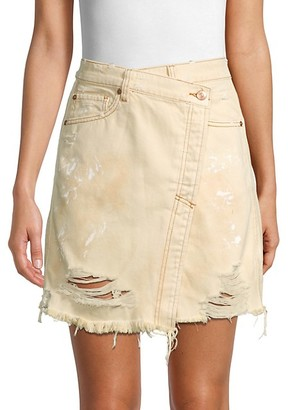 Free People Faux-Wrap Distressed Denim Skirt