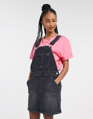 Tommy Jeans classic dungaree dress in black