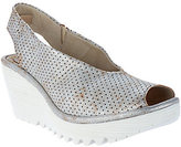 Fly London As Is Leather Perforated Peep-toe Wedges - Yazu Perf