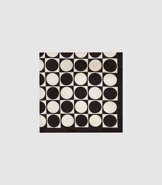 Reiss MITCHELL Silk Pocket Square Black & White