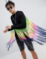 Asos DESIGN festival longline long sleeve t-shirt with extreme rainbow fringe back
