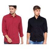 Oshano Combo of Men's Casual Plain Cotton Red and Shirts Cotton Shirt