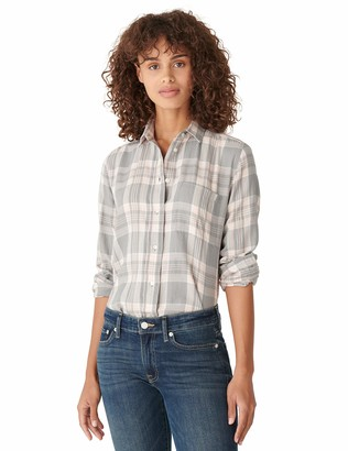 Lucky Brand Women's Long Sleeve Button Up One Pocket Plaid Flannel Shirt