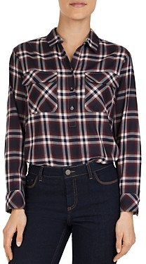Gerard Darel Marla Plaid Button-Front Shirt