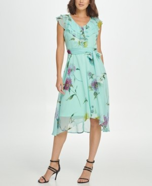 DKNY Double Ruffle V-Neck Midi Dress