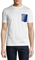 Salvatore Ferragamo Gancini Leather-Pocket T-Shirt, Bianco (White)