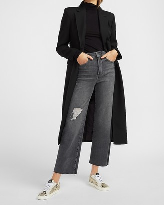 Express Super High Waisted Ripped Raw Hem Cropped Wide Leg Jeans