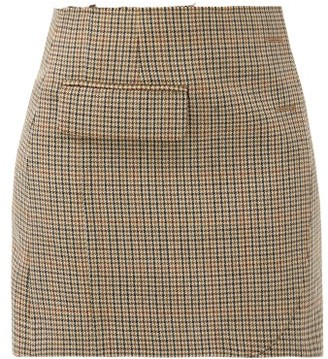Vetements Checked Wool-tweed Mini Skirt - Brown