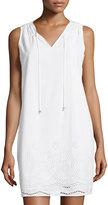 MICHAEL Michael Kors Cotton Eyelet Drawstring Shift Dress, White