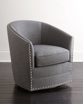 Horchow Bryn St. Clair Charcoal Tweed Swivel Chair