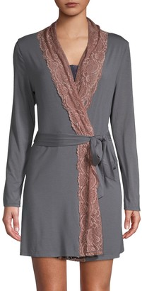 Samantha Chang Lace Trim Short Robe