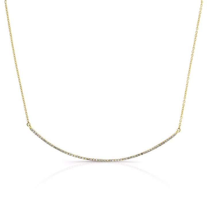 Anne Sisteron 14KT Yellow Gold Diamond Thin Crescent Necklace
