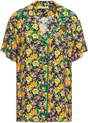 Maje Cikael Appliqued Floral-print Woven Shirt
