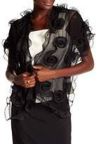 Saachi Black All Over Rosettes Silk Wrap