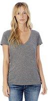 Alternative Women's Melange Burnout Jersey Slinky V-Neck Top
