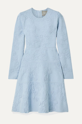 Lela Rose Textured-knit Dress - Sky blue