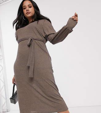Asos Design Curve rib marl midi dress with belt-Yellow