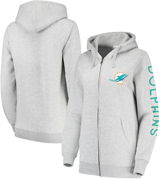 Women's Gray Miami Dolphins Extra Point Two-Hit Full-Zip Hoodie