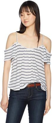 BB Dakota Women's Kaegan Striped Cold Shoulder Knit Top