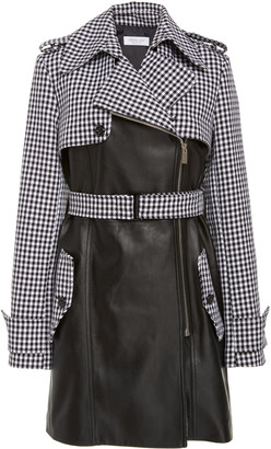 Michael Kors Cropped Dogtooth-Print Leather Trench Coat