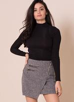 Missy Empire Alyx Light Grey Front Wrap Mini Skirt