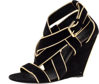 Louis Vuitton Black Suede And Gold Leather Trim Strappy Wedge Sandals Size 38.5