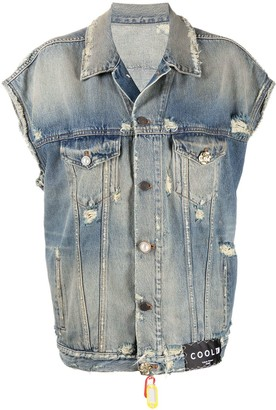 COOL T.M Distressed Sleeveless Denim Jacket