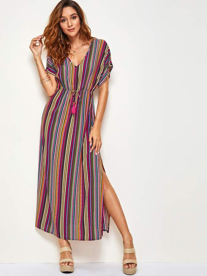 Shein Tassel Trim Drawstring Waist Colorful Tribal Print Dress