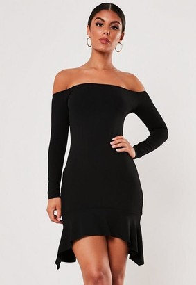 Missguided Black Bardot Frill Hem Bodycon Mini Dress