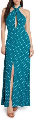 Willow & Clay Polka Dot Slit Front Maxi Dress