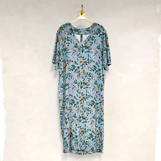 Liebling Malmo - Sparv Blue Orange Flower Viscose Dress - S - Blue