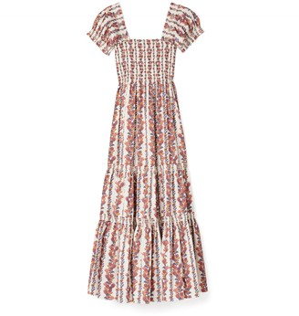 Tory Burch Printed Smocked Midi Dress