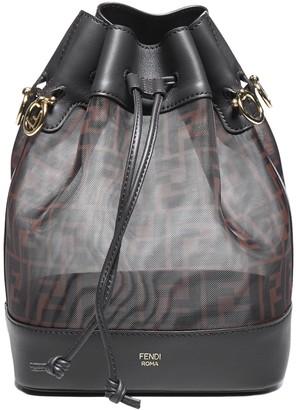 Fendi Mon Tresor Leather And Ff Motif Technical Fabric Bucket Bag