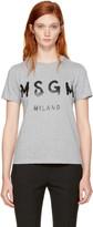MSGM Grey Milano Logo T-Shirt
