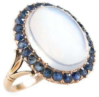 Stephanie Windsor Victorian 15K Yellow Gold, Moonstone & Blue Sapphire Halo Ring