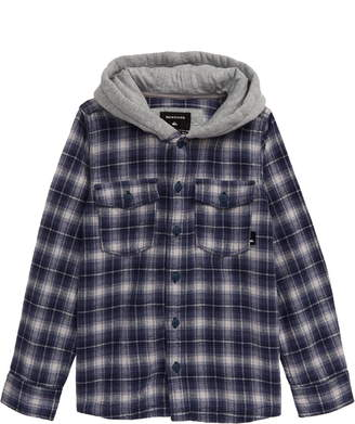 Quiksilver Plaid Flannel Button-Up Hoodie