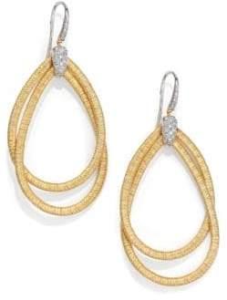 Marco Bicego Cairo Diamond& 18K Yellow Gold Large Double Teardrop Earrings