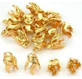 FindingKing 20 Gold Plated Bead Caps Necklace Chain Bail Charms
