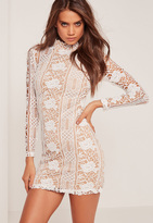 Missguided Lace Long Sleeve High Neck Bodycon Dress White