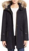 Trina Turk Women's 'Riley' Wool Blend Coat With Genuine Fur Trim Hood