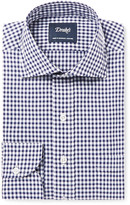 Drakes Drake's Blue Slim-Fit Gingham Cotton-Poplin Shirt