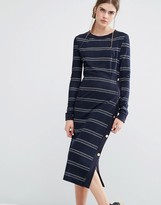 Baum und Pferdgarten Jana Jersey Midi Dress in Stripe with Button Detail