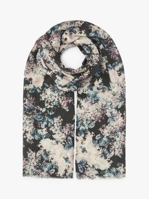 Modern Rarity Winter Blossom Wool and Silk Scarf, Black/Multi