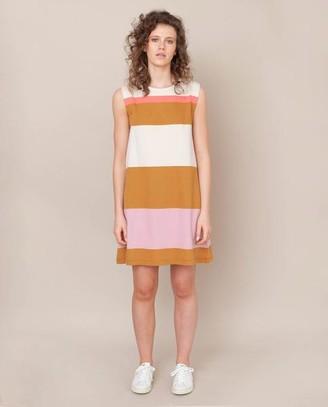 Beaumont Organic Ivy Organic Cotton Dress In Sunny Bold Stripe - Sunny Bold Stripe / Extra Small