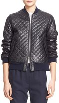 ADAM by Adam Lippes Quilted Lambskin Leather Bomber Jacket