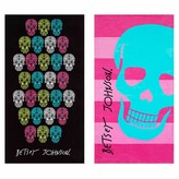 Betsey Johnson Skull Fiesta Beach Towel - Set of 2 - Pink/Multi