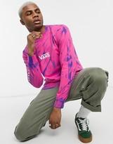 Vans Tie Dye Checker Sleeve long sleeve t-shirt in pink tie dye