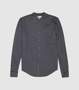 Reiss Avola - Printed Grandad Shirt in Navy
