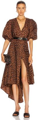 Ganni Printed Cotton Poplin Dress in Toffee | FWRD