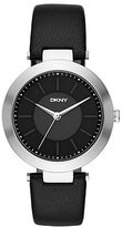 DKNY Stanhope Stainless Steel Black Leather Strap Watch, NY2465